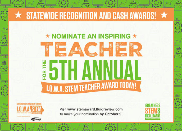 I.O.W.A. STEM Teacher Award Program Nominations Open