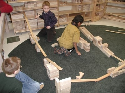 Children learning ramps and pathways