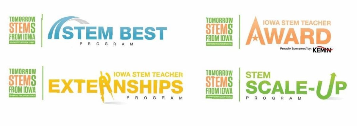 New logos for STEM Scale-Up Program, the STEM BEST Program, the STEM Teacher Externship Program and the Iowa STEM Teacher Award.