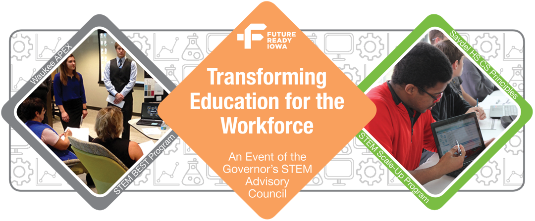 A graphic featuring the logo and two photos from the Future Ready Iowa: Transforming Education for the Workforce Summit.