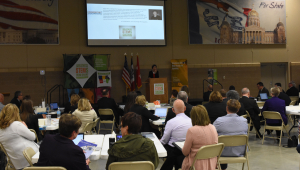 Governor Reynolds delivers opening remarks at STEM council meeting at Camp Dodge