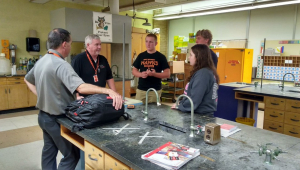 West Delaware students consult with designers on the remodel of their chemistry lab