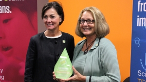 Iowa's STEM Council co-chair Mary Andringa is recognized by Lt. Gov. Kim Reynolds