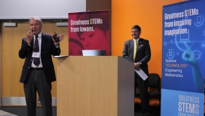 DMACC Prsident, Rob Denson, speaks at a STEM council meeting