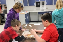 Sixth-graders at Lewis Central Middle School in Council Bluffs enjoy Engineering is Elementary, one of 11 programs offered to educators and their students on the 2016-17 STEM Scale-Up Program menu.