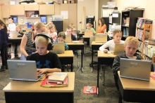"Students at Lincol Elemntary School complete the ""Hour of Code"""