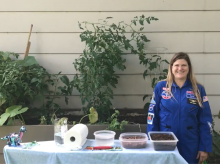 Iowa STEM Teacher Awardee Rhonda McCarthy shared a lesson about growing plants in space for STEM Day at the Fair.