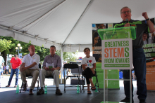 Roger Hargens, former STEM Council co-chair, provides remarks at the 2019 STEM Day at the State Fair.