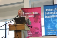 STEM Council Executive Committe Member Rob Denson speaks in Ankeny