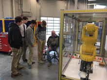 Students learning about robots